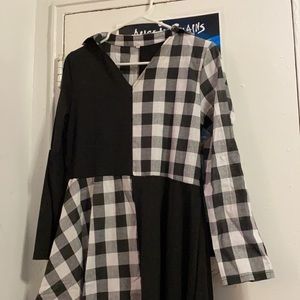 Long sleeve checkered and black dress